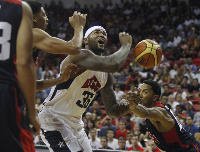 DeMarcus Cousins (36) losses the ball during the USA Basketball Showcase intrasquad game at the Thomas & Mack Center in Las Vegas on Friday, Aug. 1, 2014. (Jason Bean/Las Vegas Review-Journal)