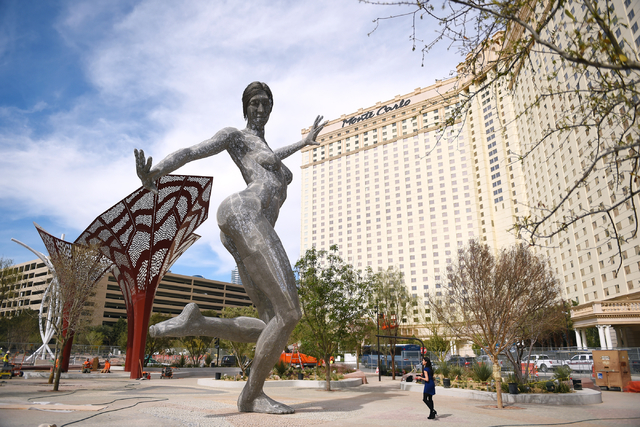 """Marco Cochrane's sculpture """"Bliss Dance"""" is seen after being installed in MGM Resorts International's new dining and entertainment district, The Park, on March 4, 2016, in Las Vegas. The Park is l ..."""