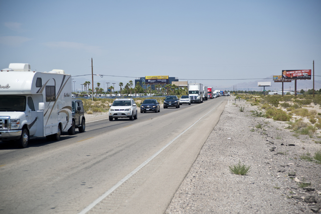 Traffic diverted onto Las Vegas Boulevard backs up after police shut down Interstate 15 at St. Rose Parkway in southeast  Las Vegas on Wednesday, June 22, 2016. Daniel Clark/Las Vegas Review-Journ ...