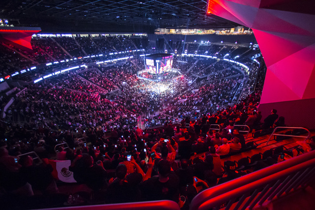 Attendees watch as Canelo Alvarez prepares to fight Amir Khan in the WBC middleweight championship at T-Mobile Arena in Las Vegas on Saturday, May 7, 2016. Chase Stevens/Las Vegas Review-Journal F ...