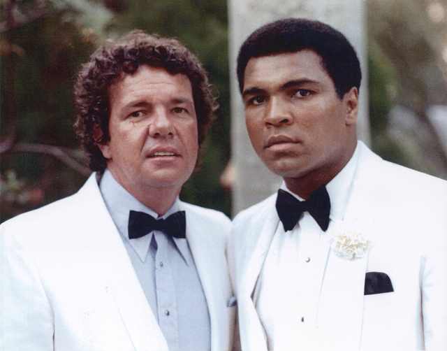 Muhammah Ali with manager and long time friend Gene Kilroy, at a 1976 event where Ali was being honored. Photo courtesy of Gene Kilroy.