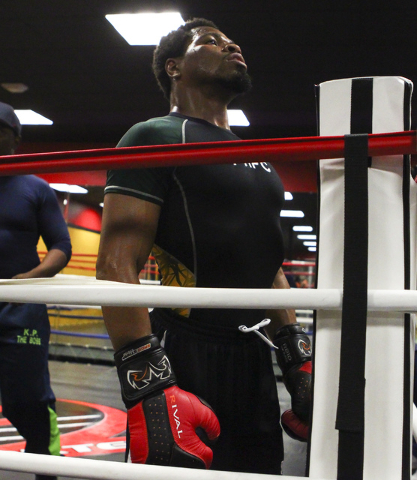 Shawn Porter is shown while working out at Porter Hy-Performance Center, 2206 Paradise Road, in Las Vegas on Wednesday, June 8, 2016. Porter is slated to fight Keith Thurman on June 25. (Loren Tow ...