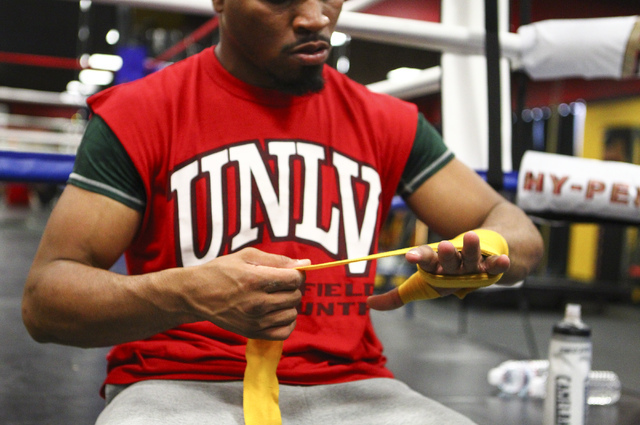 Shawn Porter prepares for a workout at Porter Hy-Performance Center, 2206 Paradise Road, in Las Vegas on Wednesday, June 8, 2016. Porter is slated to fight Keith Thurman on June 25. (Loren Townsle ...