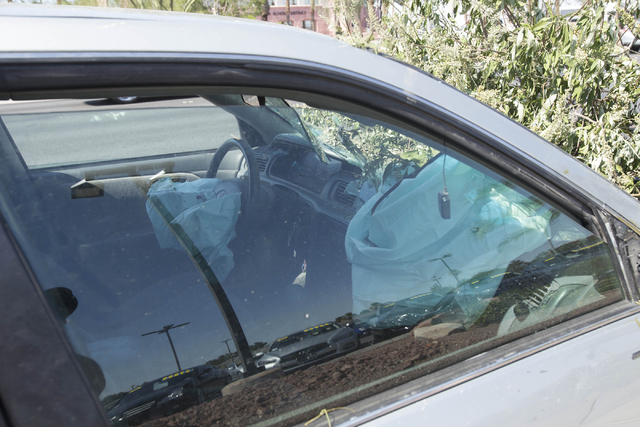 Deployed airbags are seen in a vehicle that was involved in a crash near the intersection of West Sahara Avenue and South Decatur Boulevard in Las Vegas on Saturday, June 25, 2016. Richard Brian/L ...