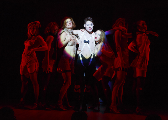 """""""Cabaret's"""" Master of Ceremonies (Randy Harrison) cozies up to the Kit Kat Klub girls in the national tour of the Tony-winning revival. (Smith Center for the Performing Arts)"""