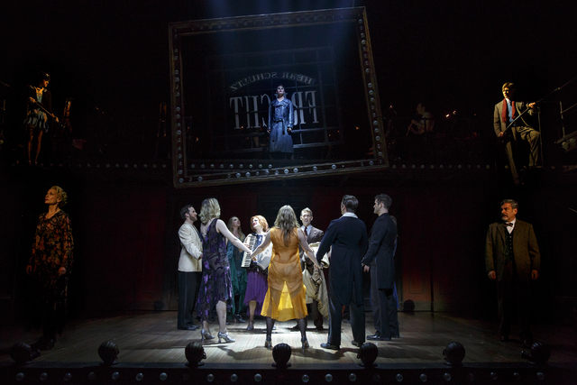 """A happy celebration turns tense when celebrants sing the Nazi song """"Tomorrow Belongs to Me"""" in a scene from the touring production of """"Cabaret."""" (Smith Center for the Performing Arts)"""
