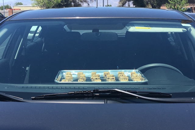 Cookie dough squares are seen baking inside a vehicle in Las Vegas on Monday, June 20. (Caitlin Lilly/Las Vegas Review-Journal)