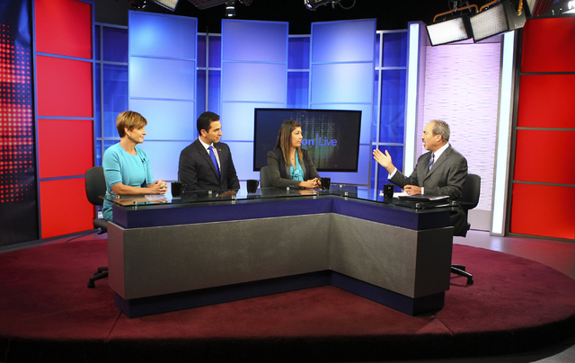 Democratic candidates for the 4th Congressional District, from left, Susie Lee, State Sen. Ruben Kihuen, and former assemblywoman Lucy Flores participate in a debate with moderator Jon Ralston at  ...