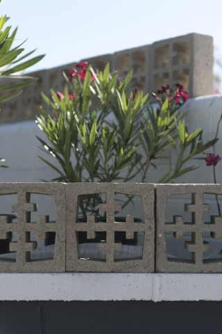 Concrete screen blocks are integrated into the landscaping of Jack LeVine's house in Las Vegas Wednesday, June 1, 2016. Jason Ogulnik/Las Vegas Review-Journal