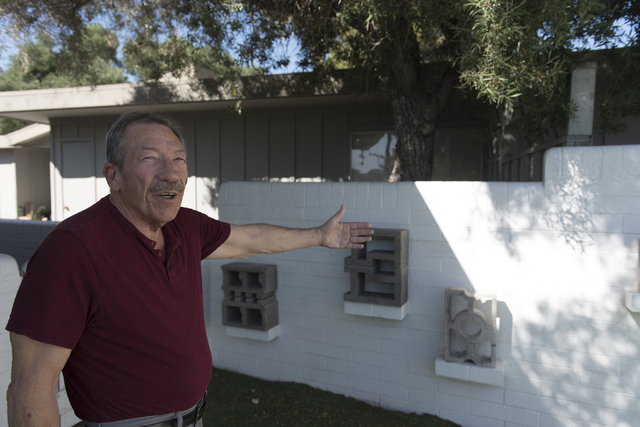 Jack LeVine speaks with a reporter as he shows his collection of concrete screen blocks in Las Vegas Wednesday, June 1, 2016. Jason Ogulnik/Las Vegas Review-Journal