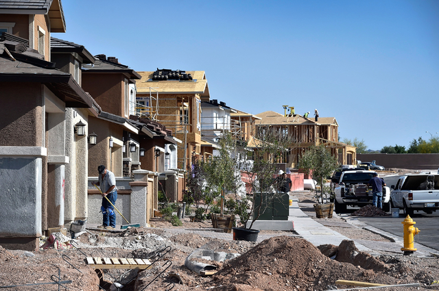 Homes under construction Monday, May 23, 2016, in Henderson. The construction industry, which was devastated in the recession, is now the fastest-growing sector in the state on a percentage basis. ...