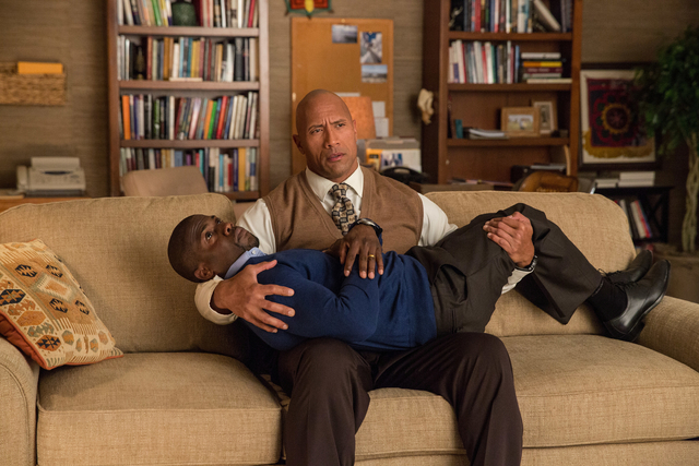 """Photo Credit: Claire Folger Caption: (Top to bottom) DWAYNE JOHNSON as Bob and KEVIN HART as Calvin in New Line Cinema's and Universal Pictures' action comedy """"CENTRAL INTELLIGENCE,"""" a Warner Bros ..."""