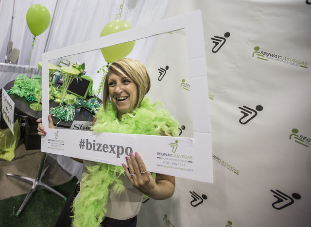 Evelyn Kovacevich strikes a poise in the Sedway booth during the Business Expo sponsored by Las Vegas Metro Chamber at Cashman Field on Wednesday, June 15, 2016.  Jeff Scheid/Las Vegas Review-Jour ...
