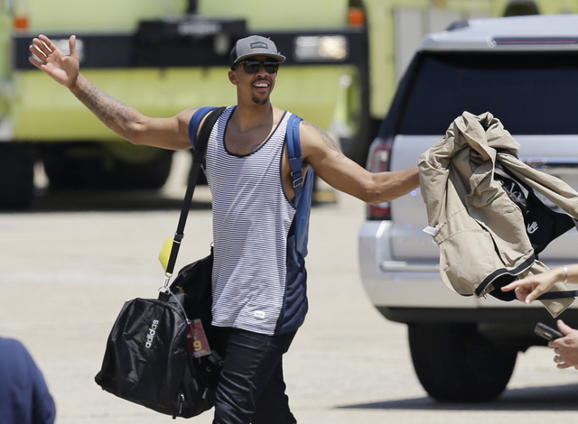 Cleveland Cavaliers' Channing Frye acknowledges the fans after arriving in Cleveland, Monday, June 20, 2016. The Cavaliers defeated Golden State in Game 7 of the NBA Finals on Sunday in Oakland, C ...