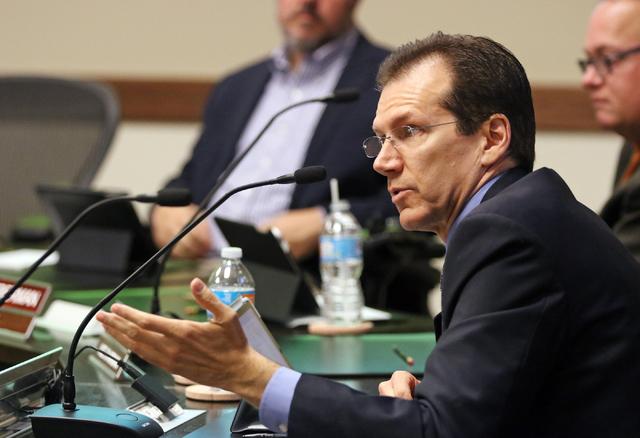 Regent Mark Doubrava addresses UNLV law professor John White, not pictured, at Nevada System of Higher Education Friday, May 27, 2016, in Las Vegas. (Ronda Churchill/Las Vegas Review-Journal)