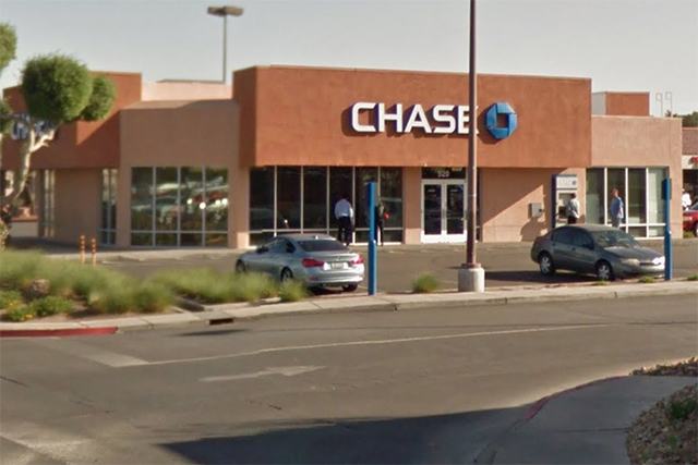 Chase bank in the 500 block of N. Nellis Blvd., near the intersection with Ceder Avenue, is seen in this Google Street View screengrab. The bank was robbed Wednesday morning, according to police.  ...