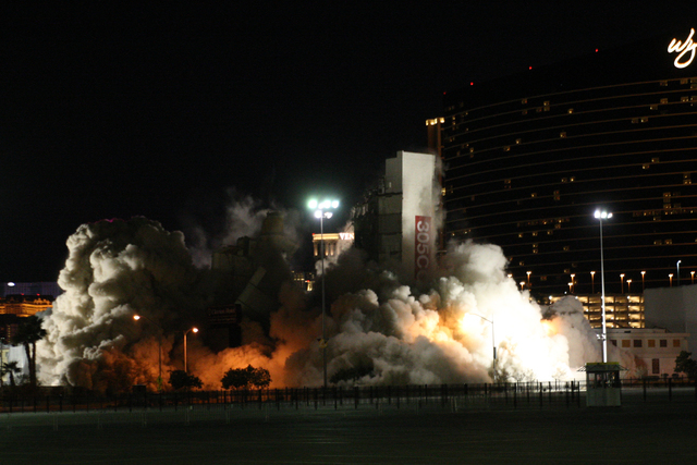 The implosion of the Clarion Hotel and Casino, located just off the Strip, went off a little before 3 a.m., but the elevator core segment failed to fully implode on Tuesday, Feb. 10, 2015. (Michae ...