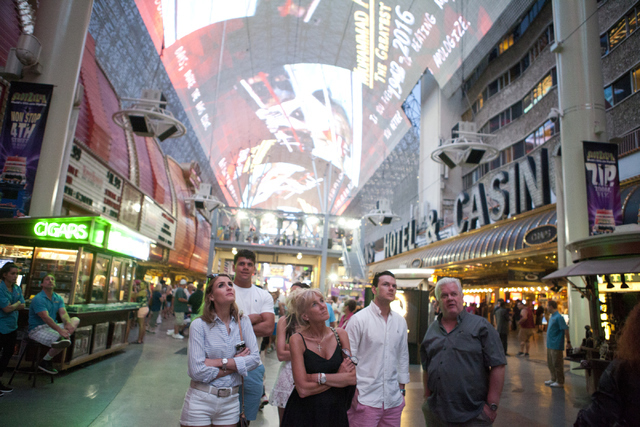 The Fremont Street Experience in Downtown Las Vegas honors Muhammad Ali with a video tribute on Saturday, June 4, 2016. (Loren Townsley/Las Vegas Review-Journal)  Follow @lorentownsley