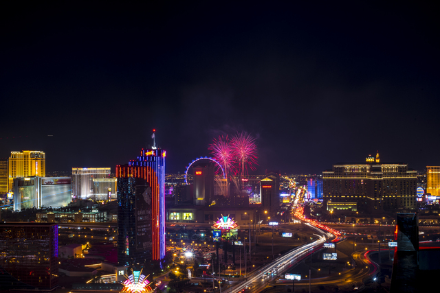 Fireworks explode over the Strip in Las Vegas as seen from ghostbar at the Palms hotel-casino on Saturday, July 4, 2015. (Joshua Dahl/Las Vegas Review-Journal)