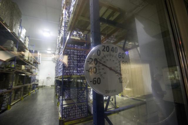 A thermostat shows the temperature inside the Anderson Dairy headquarters freezer on Tuesday, June 28, 2016, in Las Vegas. (Erik Verduzco/Las Vegas Review-Journal) Follow @Erik_Verduzco