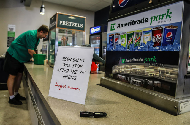 A sign proclaiming that beer sales will stop after the 7th inning is seen at TD Ameritrade Park in Omaha, Neb. on June 15, 2016. The beer taps will be open to the general public for the first time ...