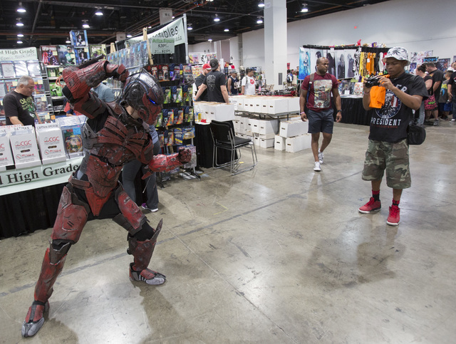 De Vaughn Franklin, 18, snaps a photo of a cosplayer during the Amazing Las Vegas Comic Con at the Las Vegas Convention Center on Saturday, June 18, 2016. (Richard Brian/Las Vegas Review-Journal)