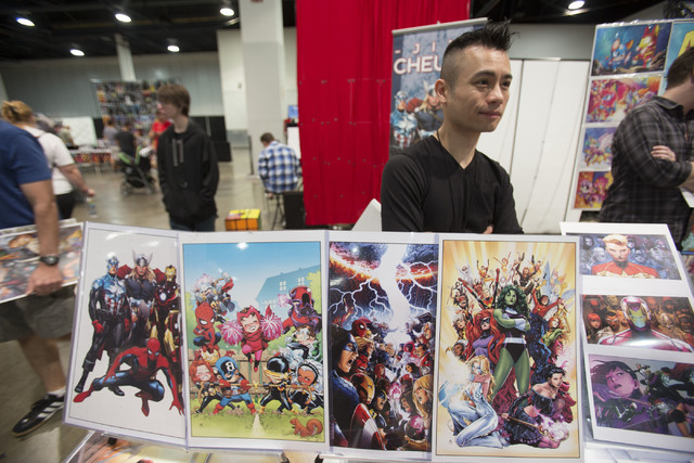 Comic book artist Jim Cheung is seen at his booth during the Amazing Las Vegas Comic Con at the Las Vegas Convention Center on Saturday, June 18, 2016. (Richard Brian/Las Vegas Review-Journal)