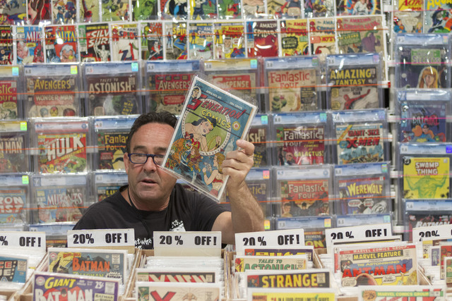 Brad Sloan of FVF Comics is shown at his booth during the Amazing Las Vegas Comic Con at the Las Vegas Convention Center on Saturday, June 18, 2016. (Richard Brian/Las Vegas Review-Journal)