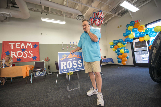 Steve Ross makes phone calls during the Steve Ross for Clark County Commissioner District B campaign on Tuesday, June 14, 2016 at his campaign headquarters in Las Vegas. (Jacob Kepler/Las Vegas Re ...