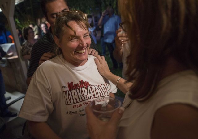 Marilyn Kirkpatrick, Clark County Commisioner District B candidate, talks with supporters on Tuesday, June 14, 2016 at her home in Las Vegas. (Jacob Kepler/Las Vegas Review-Journal)