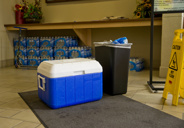 A cooler stocked with cold water is seen at a cooling station located inside the Stupak Community Center in Las Vegas on Tuesday, June 21, 2016. Stations are situated across the Las Vegas Valley a ...