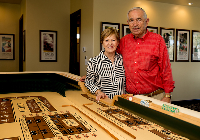 Joe and Sharon Orzechowski spent more than $11,000 to build and install a 12-foot, custom Cleopatra craps table manufactured by Pharaoh Manufacturing in California. It's the centerpiece of their V ...
