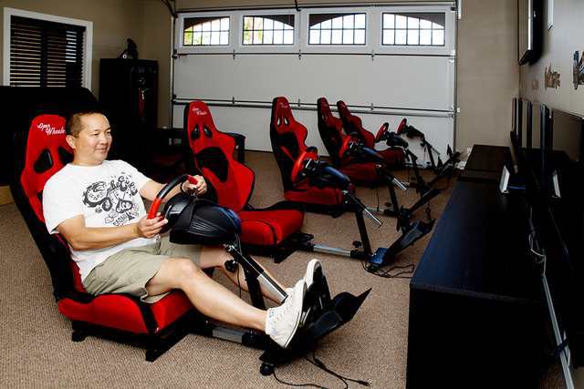 Jeffrey Cheng built his home next to destination co-owner John Morris nearly two years ago. He turned one of his four garages into a man cave. (Tonya Harvey/Real Estate Millions)