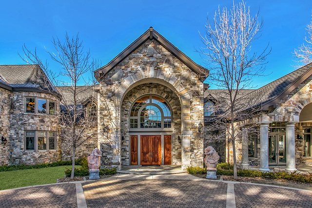 COURTESY The main residence boasts more than 400 tons of Montana stone gracing the exterior.