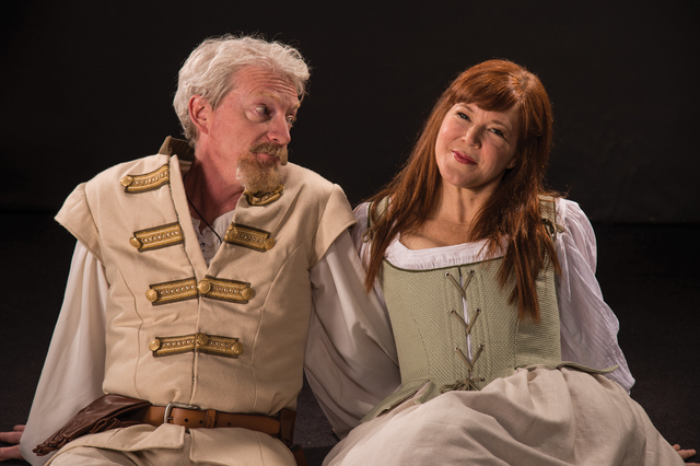 """Benedick (Ben Livingston) and Beatrice (Kim Martin-Cotten) engage in a merry war of wits in Shakespeare's """"Much Ado About Nothing,"""" which opens next week at the Utah Shakespeare Festival. (Karl Hu ..."""