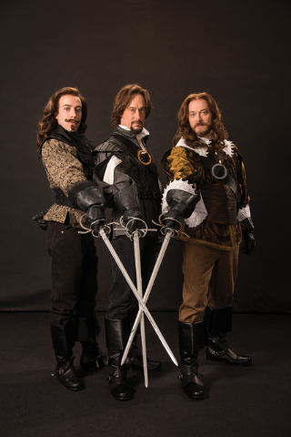 """It's one for all and all for one as """"Three Musketeers"""" Aramis (Tasso Feldman), Athos (J. Todd Adams) and Porthos (Todd Denning) hit the new Engelstad Shakespeare Theatre stage at the Utah Shakespe ..."""