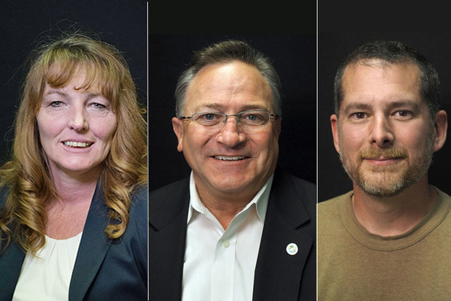 Clark County Commission District B candidates, from left, Marilyn Kirkpatrick and Steve Ross, both Democrats, and Republican Chris Dyer. Another Republican, Kevin Williams is not pictured. (Jerry  ...
