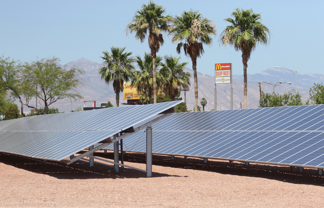 Ground mount solar is shown at Cox Las Vegas, located at 2451 Ernest May Lane, Monday, June 20, 2016, in Las Vegas. Ronda Churchill/Las Vegas Review-Journal