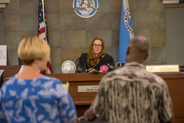 Judge Heidi Almase listens to testimonies during a mental health court session at the Regional Justice Center in Las Vegas June 15, 2016. Joshua Dahl/View