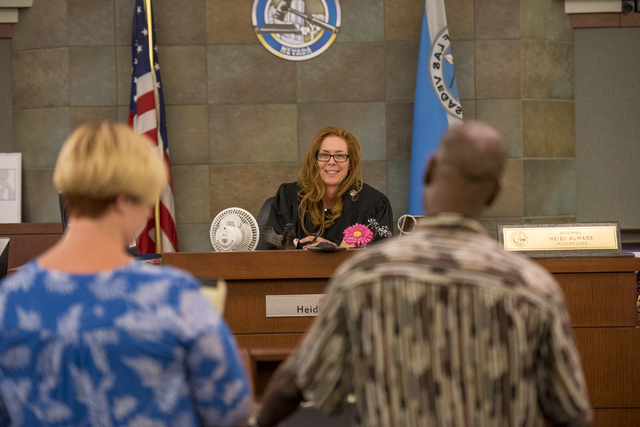 Judge Heidi Almase listens to testimonies during a mental health court session at the Regional Justice Center in Las Vegas on Wednesday, June 15, 2016. Joshua Dahl/Las Vegas Review-Journal