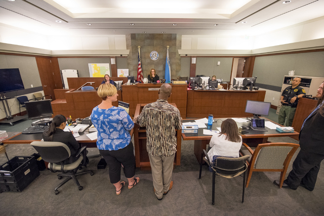 Victor Houston speaks to Judge Heidi Almase during a mental health court session at the Regional Justice Center in Las Vegas on Wednesday, June 15, 2016. Joshua Dahl/Las Vegas Review-Journal