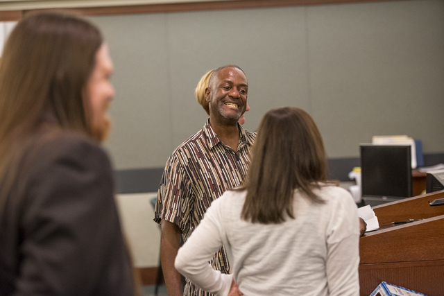 Victor Houston smiles during a mental health court session at the Regional Justice Center in Las Vegas on Wednesday, June 15, 2016. Joshua Dahl/Las Vegas Review-Journal