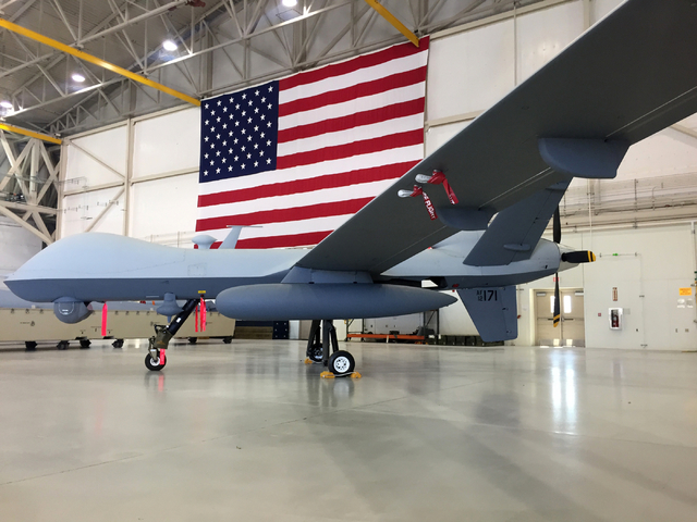 An MQ-9 Reaper sits inside hangar Tuesday, June 16, 2015 at Creech Air Force Base, 45 miles northwest of Las Vegas. (Keith Rogers/Las Vegas Review-Journal)