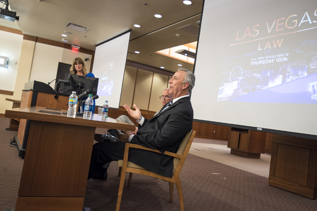 """District Attorney Steve Wolfson speaks during a panel discussion about the new national television show """"Las Vegas Law"""" at the William S. Boyd School at UNLV May 5. He's now waiting to hear if the ..."""