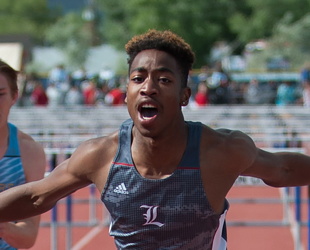 Liberty's David Washington competes to win in 110 meter hurdles during the NIAA Division 1 state track meet championship at Carson City High School in Carson City, Nev. on Friday, May 20, 2016. Ke ...