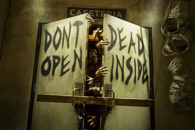 "The iconic ""Don't Open, Dead Inside"" doors are seen at Universal Studios newly opened ""The Walking Dead"" attraction. (Courtesy Universal Studios Hollywood/David Sprague)"
