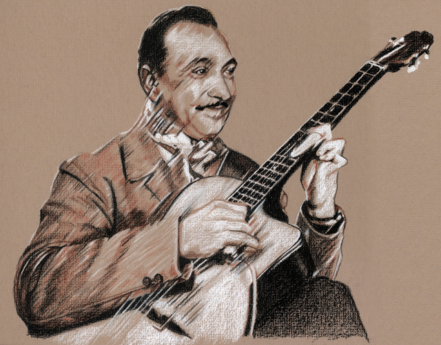 "A sketch of jazz guitarist Django Reinhardt, the inspiration for Saturday's ""DjangoVegas!"" COURTESY CITY OF LAS VEGAS CULTURAL ARTS"