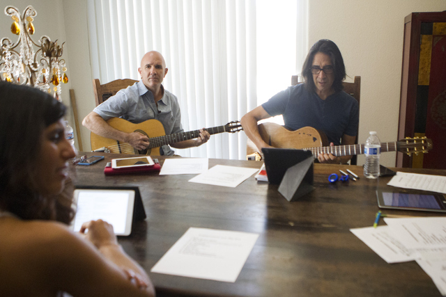 "Singer Noybel Gorgoy, left, and guitarists Johnny Miles and Mundo Juillerat rehearse for the Hot Club of Las Vegas' Saturday gig at the fifth annual ""DjangoVegas!"" Erik Verduzco/Las Vegas Review-J ..."