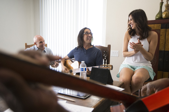 "Hot Club of Vegas musicians Johnny Miles, left, Mundo Juillerat and Noybel Gorgoy rehearse for their return to ""DjangoVegas!"" Saturday. Erik Verduzco/Las Vegas Review-Journal Follow @Erik_Verduzco"