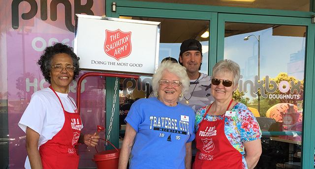 During early June 2016's National Donut Day, The Salvation Army partnered with Pink Box Doughnuts to raise money for charity and succeeded with a new one-day partnership-high donation of $1,600. S ...